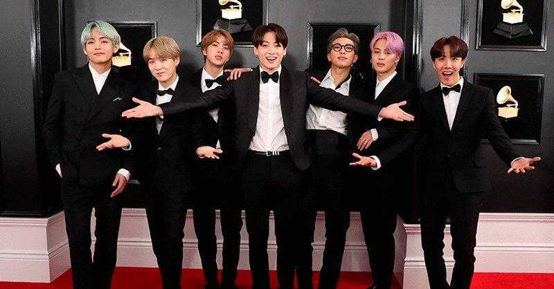 V, Suga, Jin, JungKook, Rap Monster y J-Hope de BTS en los Grammy Awards 2019